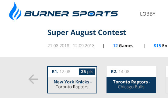 BurnerSports. DFS with trivia based contests. 2018 - now